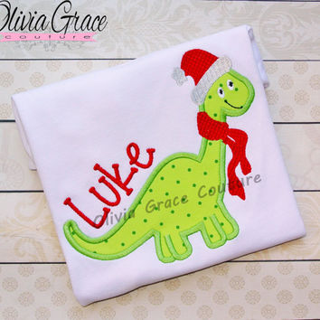 Santa Dinosaur, Boys Christmas Shirt, Winter Embroidered Applique Shirt or Bodysuit