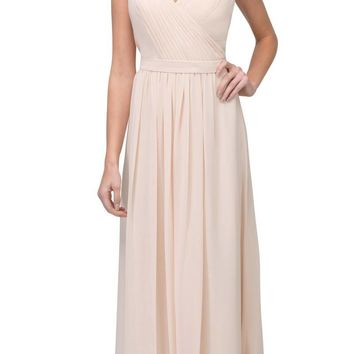 Champagne A-line Long Formal Dress V-Neck Lace Up Back