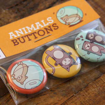 "Animals Pinback Buttons Set - 1"" pins, cute pinback set, cat pinback, otter button, hamster pinback, animals badges, funny whimsical pins"