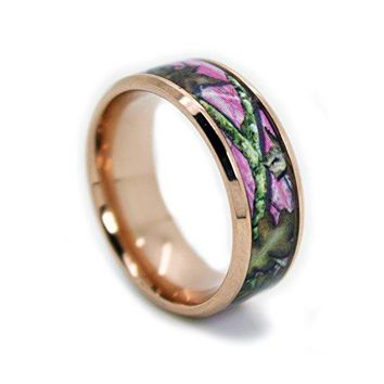 1CAMO Camo Wedding Rings by Pink Camo Titanium Wedding Band  Rose Gold Plated