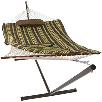 Sunnydaze Decor Desert Stripe Hammock with Stand and Pillow