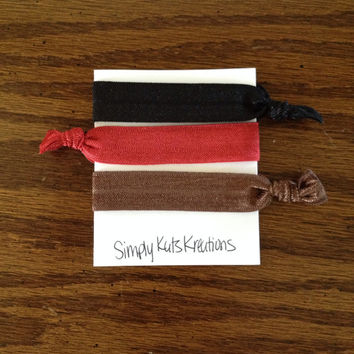 Dark Red, Brown and Black Hair Ties / Elastic Hair Ties / Hair Ties / Fold Over Elastic / No Crease Hair Ties / Knotted Hair Ties