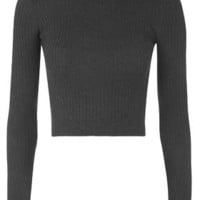 Wool Mix Rib Funnel Sweater - Charcoal