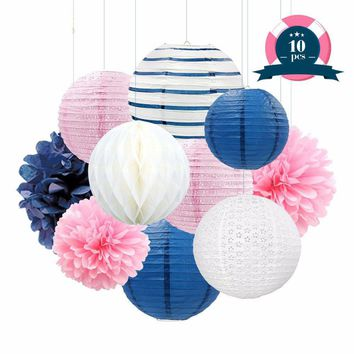 Nautical Girl Party Decoration Navy blue, Pink, White Poms & Lantern Set |Girls Birthday Party Set| Girls Baby Shower| Sailor Sea Party