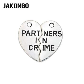 JAKONGO 10sets/lot Antique Silver Partners in Crime Heart Charms Pendants for Jewelry Making DIY Handmade Craft 19*10mm