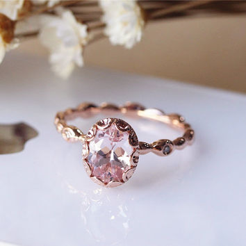 Pink 6x8mm Oval Vintage Floral Morganite Ring Solid 14K Rose Gold Engagement Ring Wedding Ring Anniversary Ring Bridal Ring Set Available