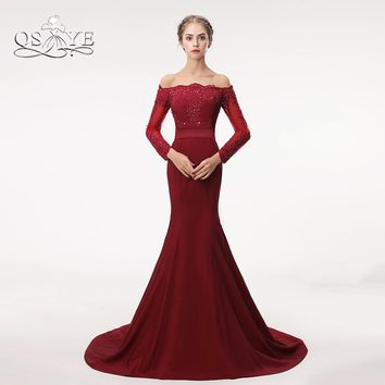 QSYYE Burgundy Mermaid Long Prom Dresses 2018 Elegant Off Shoulder Lace Beaded Satin Formal Evening Dress Party Gown Custom Made