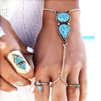 Great Deal Shiny Stylish Hot Sale Gift New Arrival Awesome Vintage Anklet Style Turquoise Beach Bracelet [1292353798211]