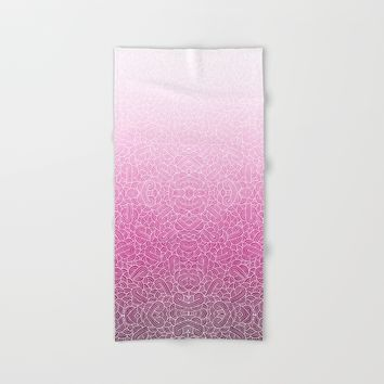 Ombre pink and white swirls zentangle Hand & Bath Towel by Savousepate