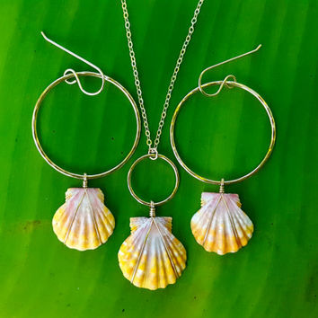 Sunrise Shell Set, Sunrise shell earrings, sunrise shell necklace, 14K Gold filled, hoop earrings, Hawaii shell jewelry, beach jewelry
