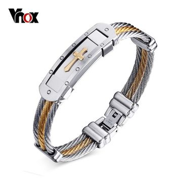 Vnox Cross Cuff Bracelet Men Jewelry 20cm Stainless Steel Wire Chain Souvenirs and gifts for Male