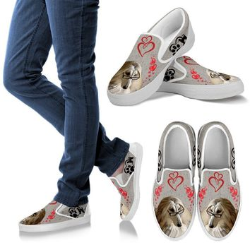 Valentine's Day Special-Afghan Hound Dog Print Slip Ons For Women-Free Shipping