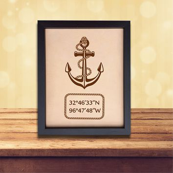 Lik163 Leather Engraved Wedding 3rd anniversary personalized gift Latitude Longitude home places wedding date anchor symbol