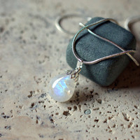 Moonstone pendant natural stone Rainbow flash pear shape with silver plated bail and cup and with stamped silver plated snake chain necklace