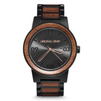 Sapele Black by Original Grain | Men's Watch | 47mm | Matte Black Stainless Steel Band | Barrel Line