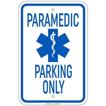"""Heavy Gauge Paramedic Parking Only with Symbol Sign 12"""" x 18"""" Aluminum Signs Retail Store"""