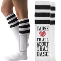 All About That Softball American Apparel Striped Socks from Customized Girl