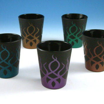 Frosted Black Shot Glasses with Strands design by woodeyeglass