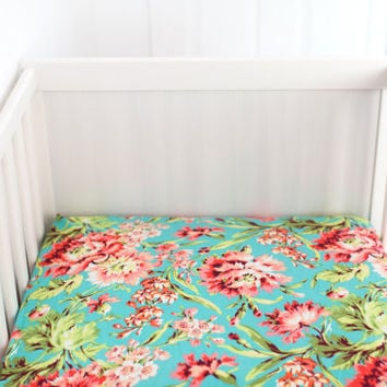 Floral Crib Sheet, Chich Crib Sheet, Custom Baby Sheet, Teal Floral Fitted Crib Sheet, changing pad cover, mini crib sheet