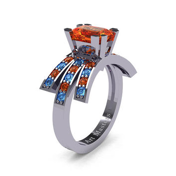 Modern Victorian 14K White Gold 1.0 Ct Emerald Cut Orange Sapphire Blue Topaz Wedding Ring, Engagement Ring R344-14KWGBTOS