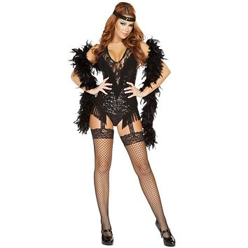 Speakeasy Black Feather Girl Halloween Costume