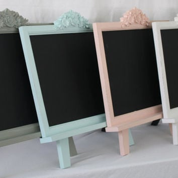 Shabby Chic Framed Chalkboard Magnet Board with Easel - Large Magnetic Chalk Board Frame Tabletop Rustic Decor Wedding Kitchen 18 x 19