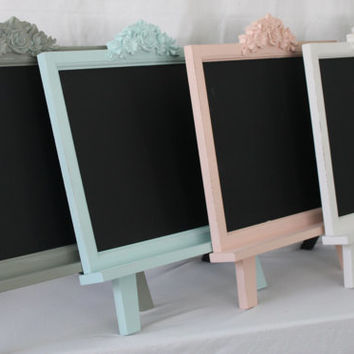 Shabby Chic Framed Chalkboard Magnet Board With Easel   Large Magnetic  Chalk Board Frame Tabletop Rustic