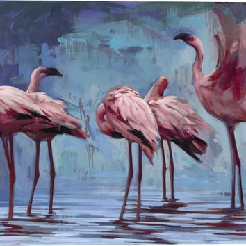 Flamingos Gather Animal Canvas Wall Art Print by Katherine Fraser