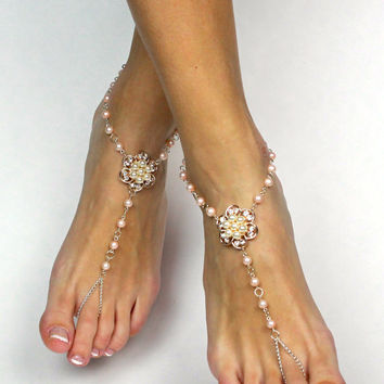Peach and Ivory Beaded Barefoot Sandals Beach Wedding Anklet Foot Jewelry for Bride Destination Wedding Gift Foot Thong Bare Foot Sandals