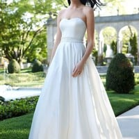 Strapless Satin A-Line with Beaded Waistband - David's Bridal - mobile