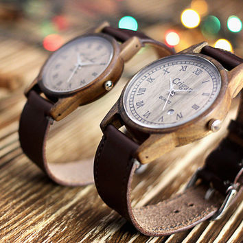 Wooden wristwatch for him and for her