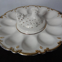 Vintage White Ceramic Deviled Egg Pedestal Serving Platter with Gold Trim and a Chicken Center Covered Dip Well