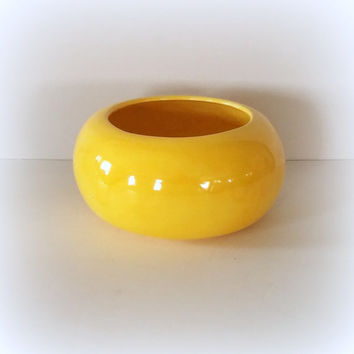 YELLOW VINTAGE MODERNIST 1960's Large California Studio Pottery Planter Pot Mid Century Modern Decor Ceramic Bowl Simple Mod Round