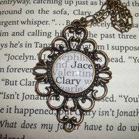 Jace and Clary City of Bones Mortal Instruments Literary Book Pendant Necklace