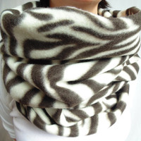 Oversized Infinity Scarf, Fleece Scarf, Zebra Scarf, Chocolate Brown & Cream Scarf, Back to School, Circle Scarf, Animal Print Scarf, Gift