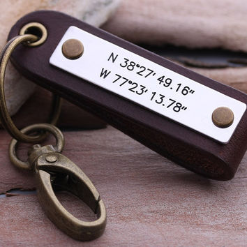 Latitude Longitude keychain - Mens GPS Leather Keychain - Leather key chain - Mens Valentines Gift