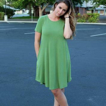Green Short Sleeve Pocket Dress
