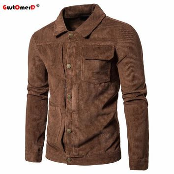 Trendy GustOmerD 2017 New Fashion Corduroy Jackets Men Autumn Winter Mens Solid Color Turn Down Collar Men Jacket Casual Slim Male coat AT_94_13
