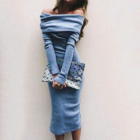 Women's Long Sleeve Off Shoulder Vogue Stylish Charming Adorable Long Maxi Bodycon Sexy Club Dress
