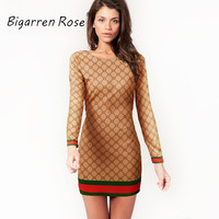 2017 new fashion women brand printed dresses o-neck long sleeve dress sexy plaid dress