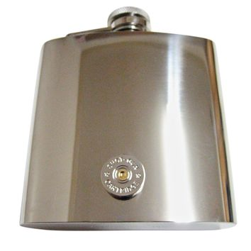 Gold and Silver Toned Shot Gun Shell Design 6 Oz. Stainless Steel Flask