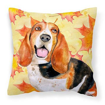 Basset Hound Fall Fabric Decorative Pillow BB9965PW1414