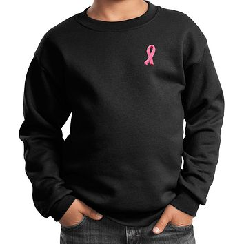 Buy Cool Shirts Kids Breast Cancer Sweatshirt Embroidered Pink Ribbon