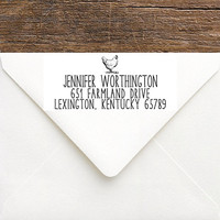 Chicken Address Stamp - Chicken Stamp Rustic Address Stamp - Farm Address Stamp - Custom Egg Packaging Stamp - Chicken Coop Stamp Gift