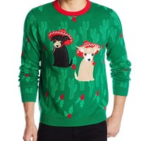 Alex Stevens Men's Merry Chihuahua Ugly Christmas Sweater, Green Combo, XX-Large
