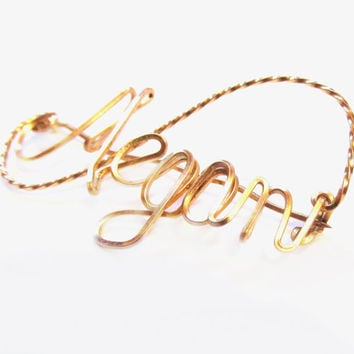 Handmade MEGAN Brooch, Gold Wire Name Pin