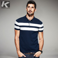 KUEGOU 2017 Summer Mens Knitted Polo Shirts 100% Cotton Striped Blue Brand Clothing Man's Wear Short Sleeve Slim Clothes 16972