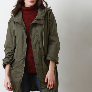 Hooded Drawstring Hem Utility Jacket