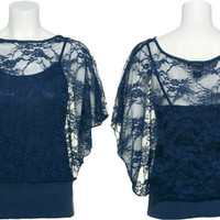 GRASS Banded Floral Lace Top w/ Camisole Inset