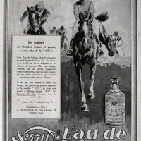 Eau de Cologne 4711 vintage advertising horse ride art deco advertisement from 1928, perfume poster, retro poster for framing A3 size